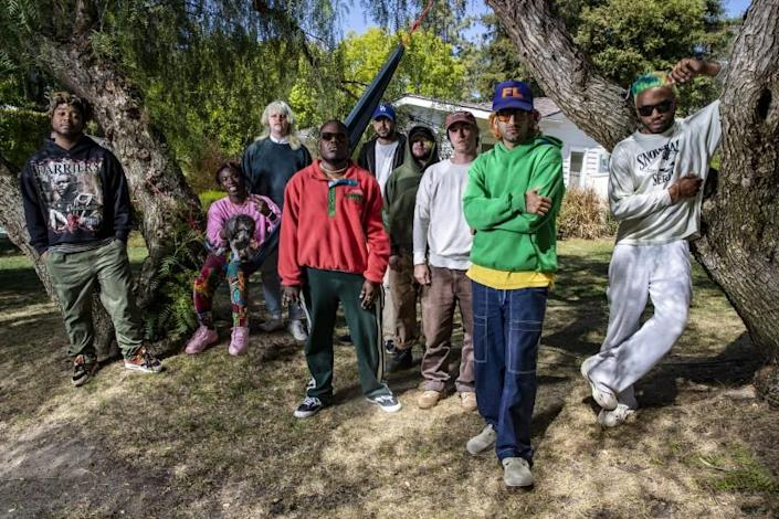 Hidden Hills, CA, Thursday, April 8, 2021 - Hip-hop group Brockhampton at frontman Kevin Abstract's home in Hidden Hills. Left to right, Dom McLennon, Merlyn Wood, Joba, Jabari Manwa, Kilo Merley, Bearface, Matt Champion, Romil Hemnani, Kevin Abstract. (Robert Gauthier/Los Angeles Times)