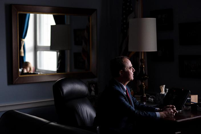 Rep. Adam Schiff (D-Calif.), the chairman of the Intelligence Committee, in his office on Capitol Hill in Washington, on Tuesday, Nov. 12, 2019. (Erin Schaff/The New York Times)