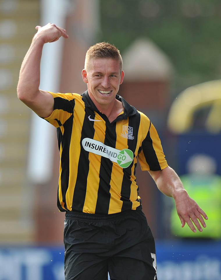 Southend United's Freddy Eastwood celebrates scoring his sides first goal during the Sky Bet Football League Two match at the Proact Stadium, Chesterfield.
