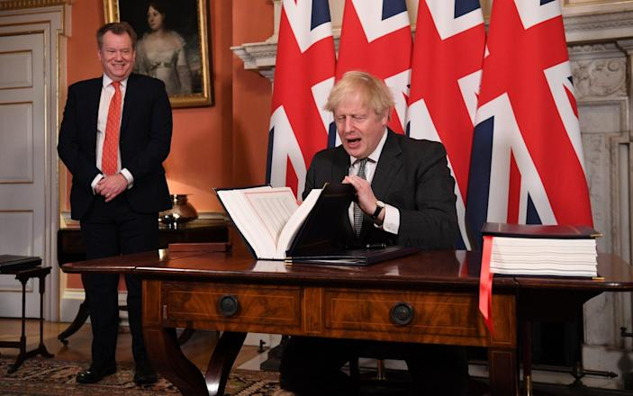 Boris Johnson signed the Brexit trade deal with the EU in December - GETTY IMAGES