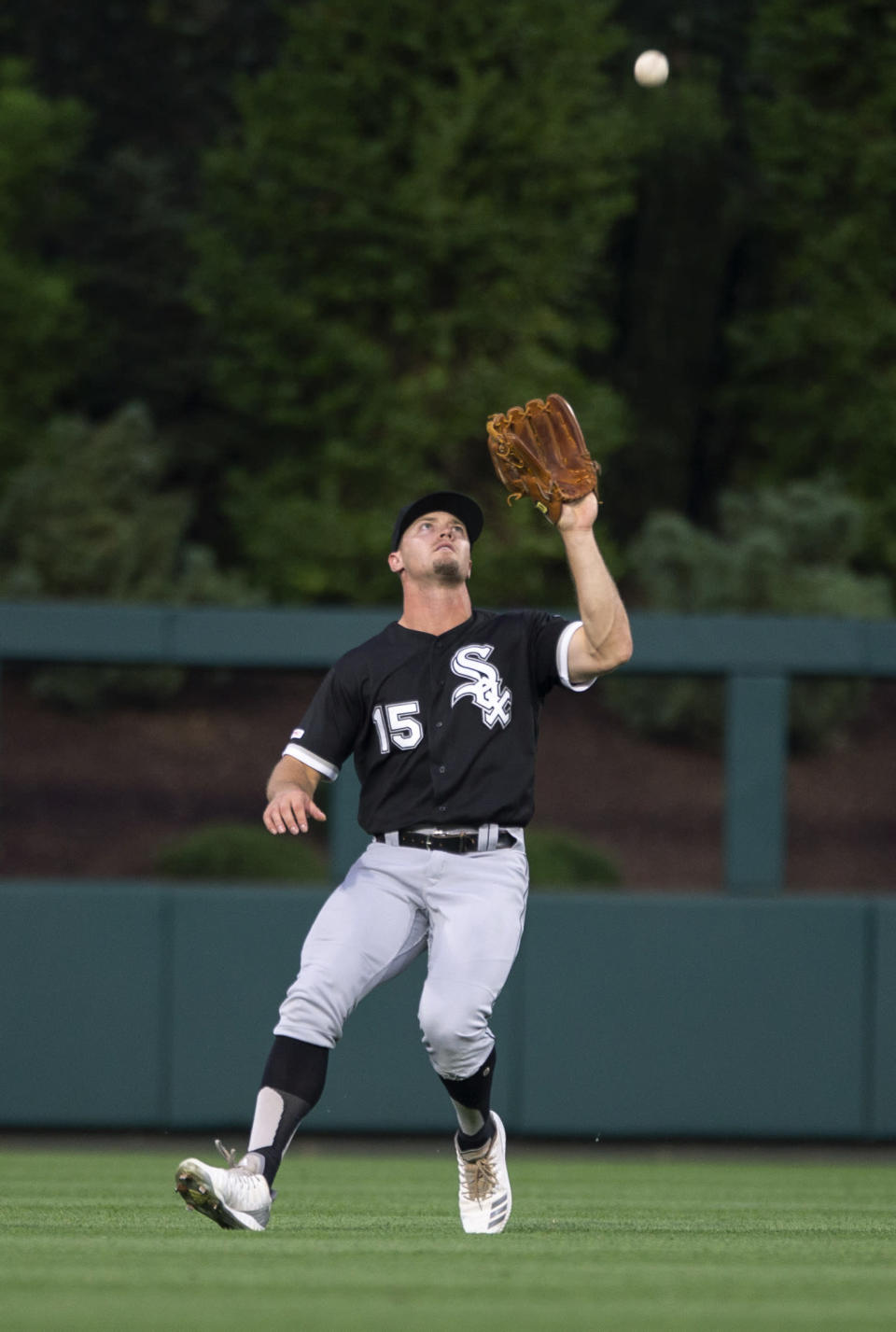 Chicago White Sox center fielder Adam Engel catches a pop fly by Philadelphia Phillies' Cesar Hernandez during the third inning of a baseball game Friday, Aug. 2, 2019, in Philadelphia. (AP Photo/Laurence Kesterson)