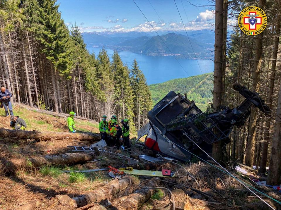 <p>A cable car crashed to the ground in northern Italy</p> (Corpo Nazionale Soccorso Alpino)