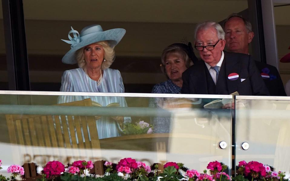 The Duchess of Cornwall watches the action from the Royal Box on day one - PA