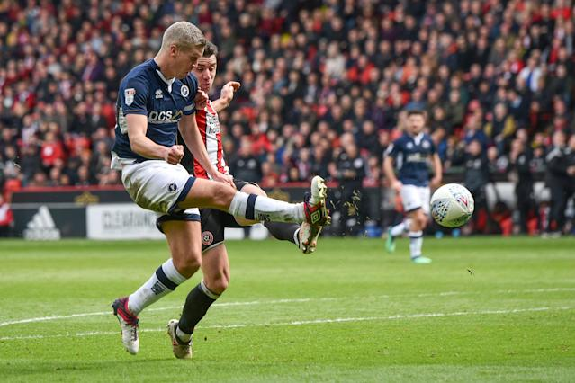 "Soccer Football - Championship - Sheffield United vs Millwall - Bramall Lane, Sheffield, Britain - April 14, 2018 Millwall's Steve Morison scores their first goal Action Images/Paul Burrows EDITORIAL USE ONLY. No use with unauthorized audio, video, data, fixture lists, club/league logos or ""live"" services. Online in-match use limited to 75 images, no video emulation. No use in betting, games or single club/league/player publications. Please contact your account representative for further details."