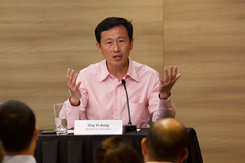 Education Minister Ong Ye Kung during the multi-ministry taskforce media conference on the Wuhan coronavirus outbreak. (PHOTO: Dhany Osman/Yahoo News Singapore)