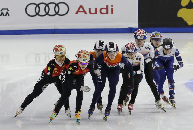 From left to right, teams of China, Netherland, South Korea and Russia compete during the women's 3,000-meter relay final race at the ISU World Cup Short Track Speed Skating competition in Seoul, South Korea, Sunday, Nov. 19, 2017. (AP Photo/Ahn Young-joon)