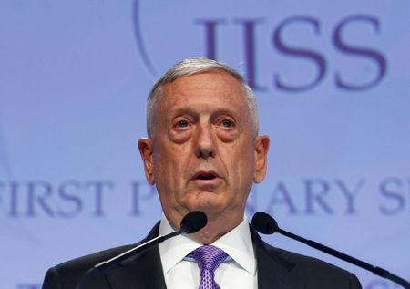 U.S. Secretary of Defense James Mattis speaks at the 16th IISS Shangri-La Dialogue in Singapore