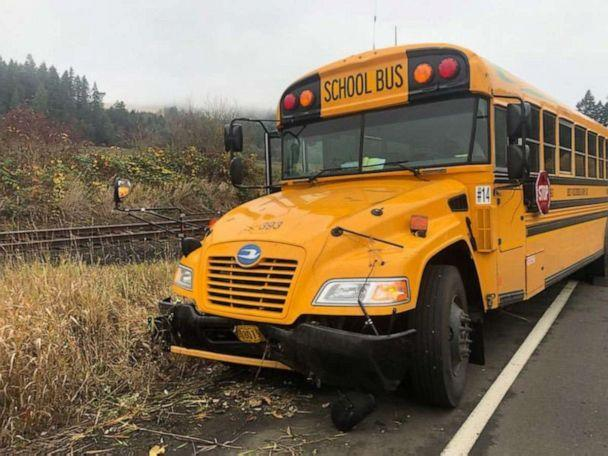 PHOTO: Video from the incident shows the bus skidding along the shoulder of a highway before the crash. (Washington County Sheriff's Office)