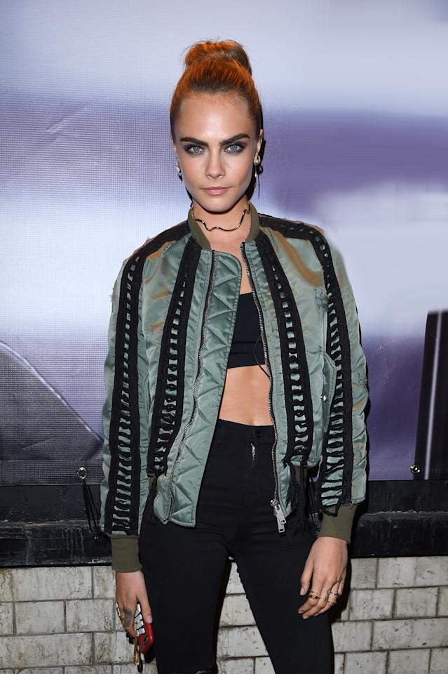"<p>Brow-wow! Cara Delevingne plays up her most famous physical feature with smokey eye makeup. <em>For a superdefined eyebrow look, try <a rel=""nofollow"" href=""http://www.cvs.com/shop/beauty/makeup/eyes/rimmel-brow-this-way-sculpting-kit-prodid-1020360?skuId=955324"">Rimmel Brow This Way Sculpting Kit</a>, $5. </em>(Photo: David Fisher/Rex/Shutterstock) </p>"