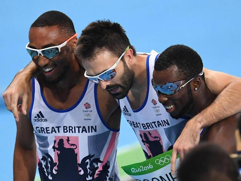 Levine (right) was a key member of Great Britain's men's 4x400m relay team (Getty)