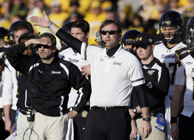 Towson head coach Rob Ambrose signals to his team in the second half of the FCS championship NCAA college football game against North Dakota State, Saturday, Jan. 4, 2014, in Frisco, Texas. NDSU won 35-7. (AP Photo/Tony Gutierrez)