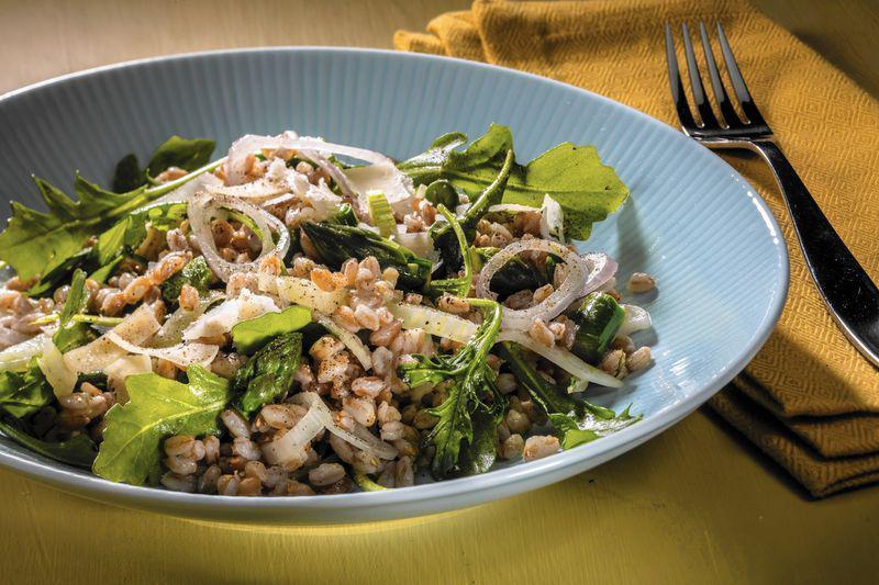 """<p>Farro gives your <a href=""""https://www.thedailymeal.com/cook/tips-and-tricks-upgrade-desk-lunch-salad-0?referrer=yahoo&category=beauty_food&include_utm=1&utm_medium=referral&utm_source=yahoo&utm_campaign=feed"""" rel=""""nofollow noopener"""" target=""""_blank"""" data-ylk=""""slk:typical salad a much-needed upgrade"""" class=""""link rapid-noclick-resp"""">typical salad a much-needed upgrade</a>. Make this salad <a href=""""https://www.thedailymeal.com/healthy-eating/mediterranean-diet-it-s-not-just-diet-it-s-lifestyle?referrer=yahoo&category=beauty_food&include_utm=1&utm_medium=referral&utm_source=yahoo&utm_campaign=feed"""" rel=""""nofollow noopener"""" target=""""_blank"""" data-ylk=""""slk:Mediterranean-style"""" class=""""link rapid-noclick-resp"""">Mediterranean-style</a> by adding sun-dried tomatoes, feta cheese and an olive oil-based vinaigrette.</p> <p><a href=""""https://www.thedailymeal.com/farro-salad-recipe?referrer=yahoo&category=beauty_food&include_utm=1&utm_medium=referral&utm_source=yahoo&utm_campaign=feed"""" rel=""""nofollow noopener"""" target=""""_blank"""" data-ylk=""""slk:For the Farro Salad recipe, click here."""" class=""""link rapid-noclick-resp"""">For the Farro Salad recipe, click here.</a></p>"""
