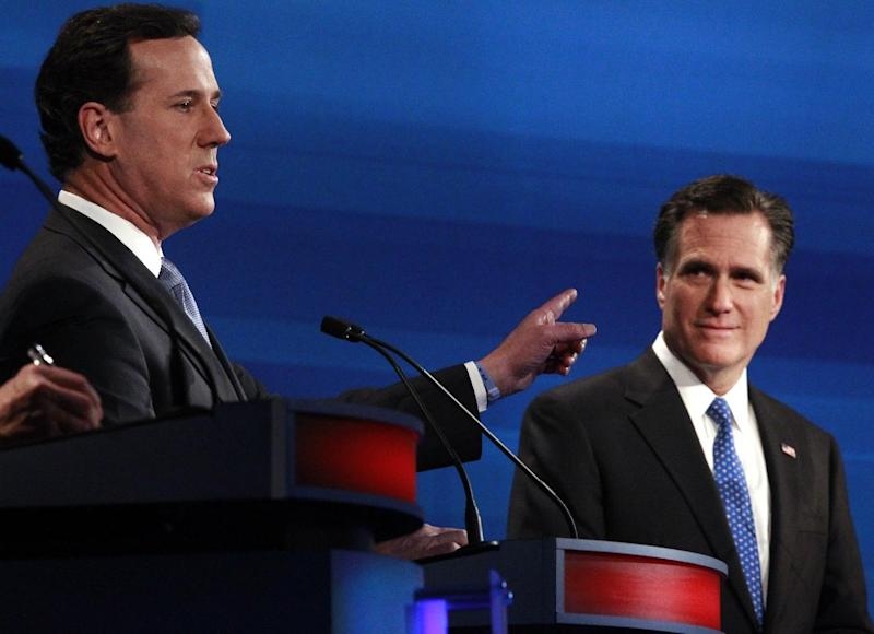 "FILE - In this Jan. 16, 2012 file photo Republican presidential candidates former Pennsylvania Sen. Rick Santorum counters former Massachusetts Gov. Mitt Romney, right, during the South Carolina Republican presidential debate in Myrtle Beach, S.C. Remember Newt Gingrich calling Romney a liar? Michele Bachmann saying Romney's unelectable? Santorum calling Romney ""the worst Republican in the country"" to run against Obama? They're hoping you don't. And acting like it never happened _ even though most of their words are just clicks away online. (AP Photo/Charles Dharapak, File)"