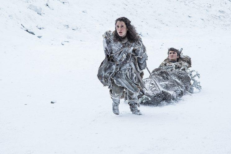 Ellie Kendrick as Meera Reed and Isaac Hempstead Wright as Bran Stark in HBO's Game of Thrones . (Photo Credit: HBO)