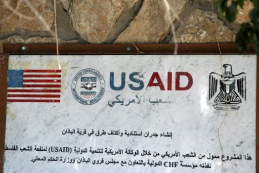 A USAID mural in the village of al-Badhan, north of Nablus in the occupied West Bank on August 25, 2018