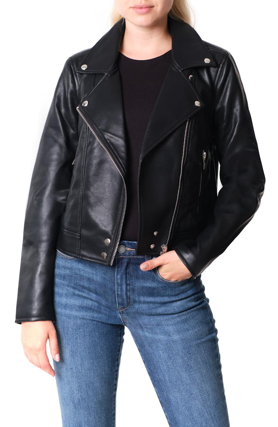 BlankNYC Good Vibes Faux Leather Moto Jacket. Image via Nordstrom.