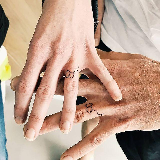 """<p>For the couple that can't get enough science, this finger tattoo design is an excellent option.</p><p><a href=""""https://www.instagram.com/p/Bg1v9g1gNup/?utm_source=ig_embed&utm_campaign=loading"""" rel=""""nofollow noopener"""" target=""""_blank"""" data-ylk=""""slk:See the original post on Instagram"""" class=""""link rapid-noclick-resp"""">See the original post on Instagram</a></p>"""