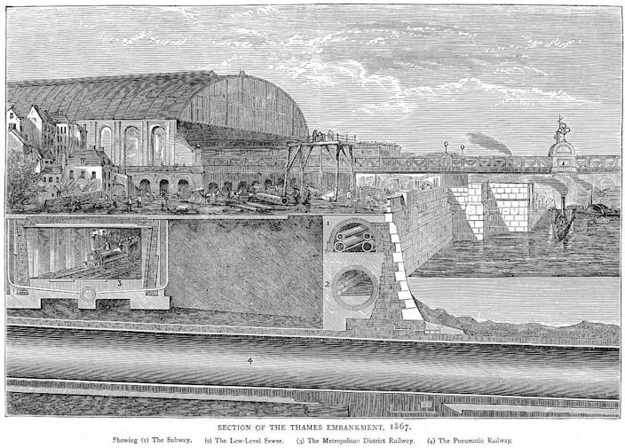 A cross section of the Thames Embankment, showing the sewers running next to the river side