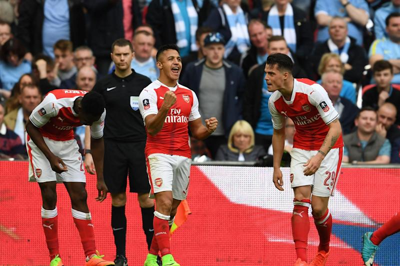 Arsenal celebrate their victory over Manchester City in the FA Cup semi-final: Arsenal FC via Getty Images