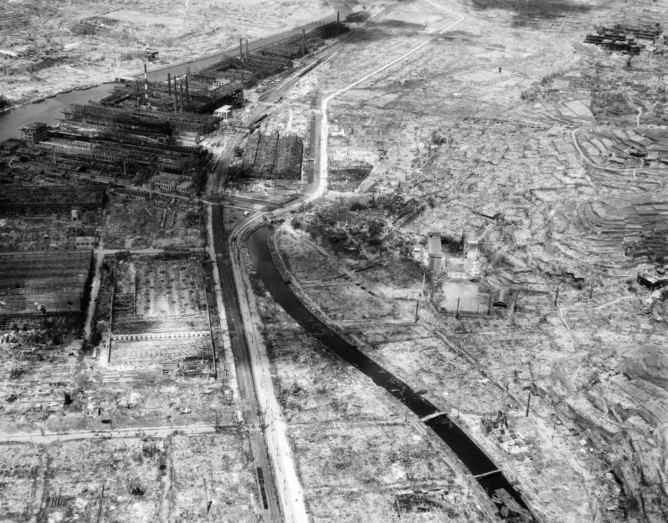 FILE - In this Sept. 4, 1945, file photo shows an entire section of Nagasaki gutted by one atomic bomb dropped on the Japanese port city by an American B-29. The remains of a factory can be seen at upper left. The city of Nagasaki in southern Japan marks the 75th anniversary of the U.S. atomic bombing of Aug. 9, 1945. It was a second nuclear bomb dropped by the U.S. three days after it made the world's first atomic attack on Hiroshima. Japan surrendered on Aug. 15, ending World War II and its nearly a half-century aggression toward Asian neighbors. Dwindling survivors, whose average age exceeds 83, increasingly worry about passing their lessons on to younger generations. (AP Photo, File)