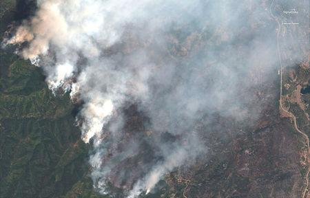 A satellite image shows the 416 Wildfire burning west of Highway 550 and northwest of Hermosa, Colorado