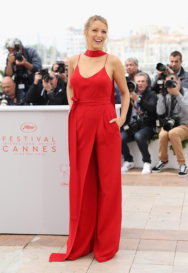 <p>And another Cannes get-up that made us stop in our tracks. Blake teamed this Juan Carlos Obando jumpsuit with a messy ponytail for a fresh look. <i>[Photo: Getty]</i></p>