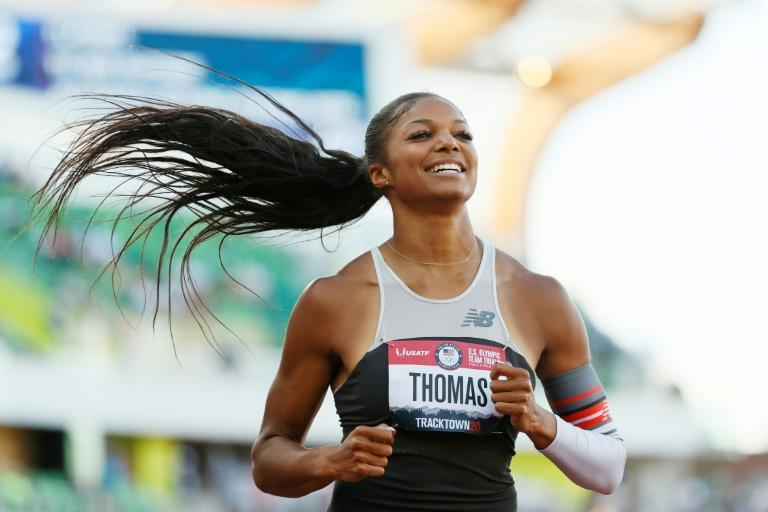 All smiles: Rising US sprint star Gabby Thomas reacts after her blistering opening performance in the 200m heats at the US Olympic trials on Thursday