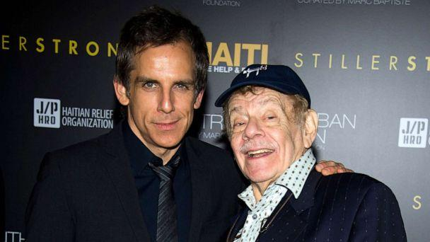 PHOTO: Ben Stiller and his father Jerry Stiller arrive at the Help Haiti benefit honoring Sean Penn hosted by the Stiller Foundation and The J/P Haitian Relief Organization, in New York, Feb. 11, 2011. (Charles Sykes/AP, FILE)