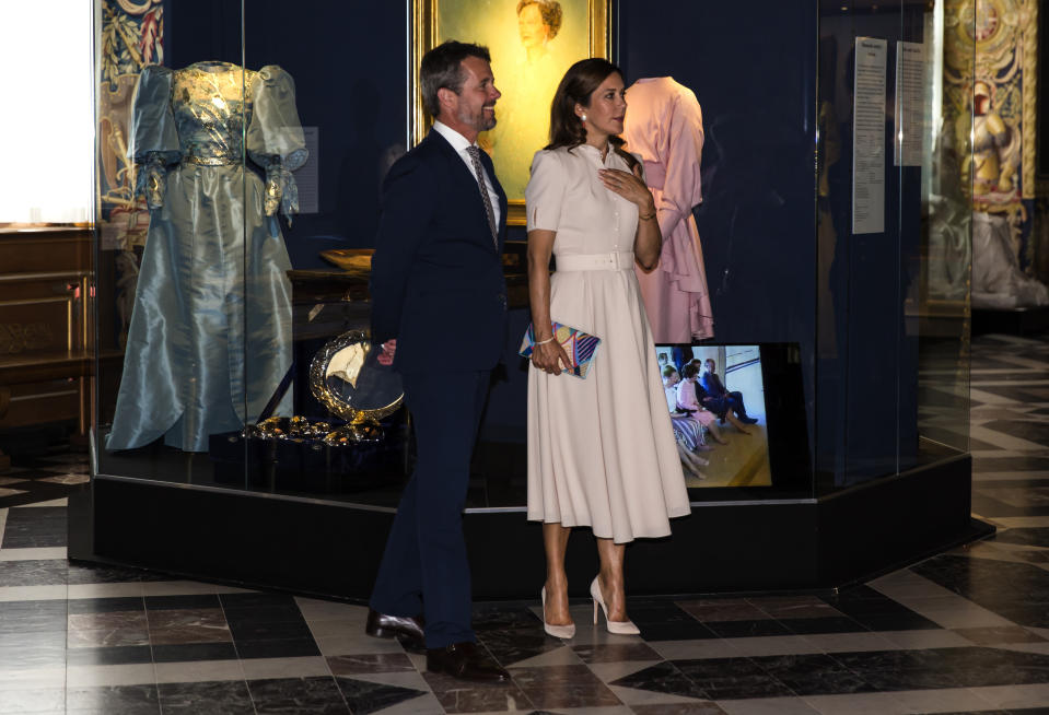 "Crown Princess Mary and Crown Prince Frederik of Denmark seen at the exhibition opening of ""The Faces of the Queen"" celebrating Queen Margrethe II of Denmark at Frederiksborg Museum of National History on June 16, 2020 in Hillerod, Denmark. The exhibition is related to the 80th birthday of Queen Margrethe of Denmark and will show photos and paintings from 1940 - 2020 of the Queen. It is open for visitors from June 17 until December 31, 2020."