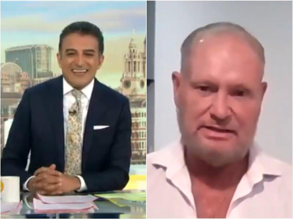(Left) Adil Ray and (right) Paul Gascoigne, as seen on Good Morning Britain (ITV)