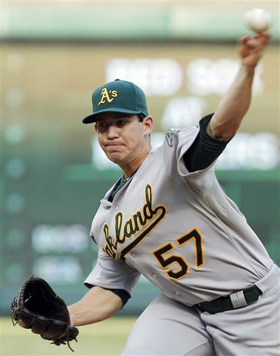 Oakland Athletics pitcher Tommy Milone throws against the Texas Rangers in the fourth inning of a baseball game on Saturday, June 30, 2012, in Arlington, Texas. (AP Photo/Tim Sharp)