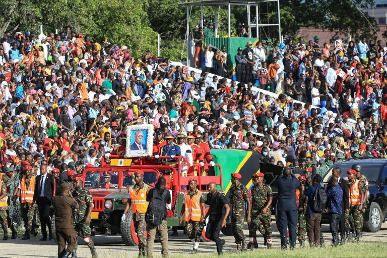Thousands gathered for Magufuli's funeral procession, but social distancing and masks were rare