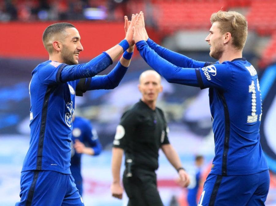 <p>Hakim Ziyech and Timo Werner celebrate at full time</p> (POOL/AFP via Getty Images)
