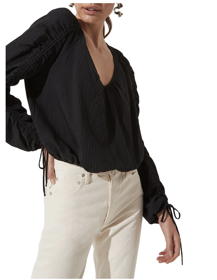 Astr The Label Ruched Long Sleeve Top - Nordstrom Canada