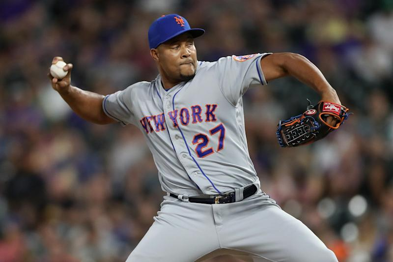 DENVER, COLORADO - SEPTEMBER 16: Pitcher Jeurys Familia #27 of the New York Mets throws in the sixth inning against the Colorado Rockies at Coors Field on September 16, 2019 in Denver, Colorado. (Photo by Matthew Stockman/Getty Images)