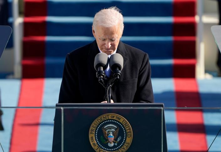 US President Joe Biden delivers his inauguration speech on January 20, 2021, at the US Capitol in Washington, DC. (Photo by Patrick Semansky / POOL / AFP) (Photo by PATRICK SEMANSKY/POOL/AFP via Getty Images)