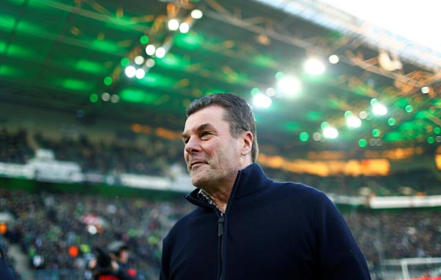 Soccer Football - Bundesliga - Borussia Moenchengladbach vs Borussia Dortmund - Borussia-Park, Moenchengladbach, Germany - February 18, 2018 Borussia Monchengladbach coach Dieter Hecking REUTERS/Thilo Schmuelgen DFL RULES TO LIMIT THE ONLINE USAGE DURING MATCH TIME TO 15 PICTURES PER GAME. IMAGE SEQUENCES TO SIMULATE VIDEO IS NOT ALLOWED AT ANY TIME. FOR FURTHER QUERIES PLEASE CONTACT DFL DIRECTLY AT + 49 69 650050