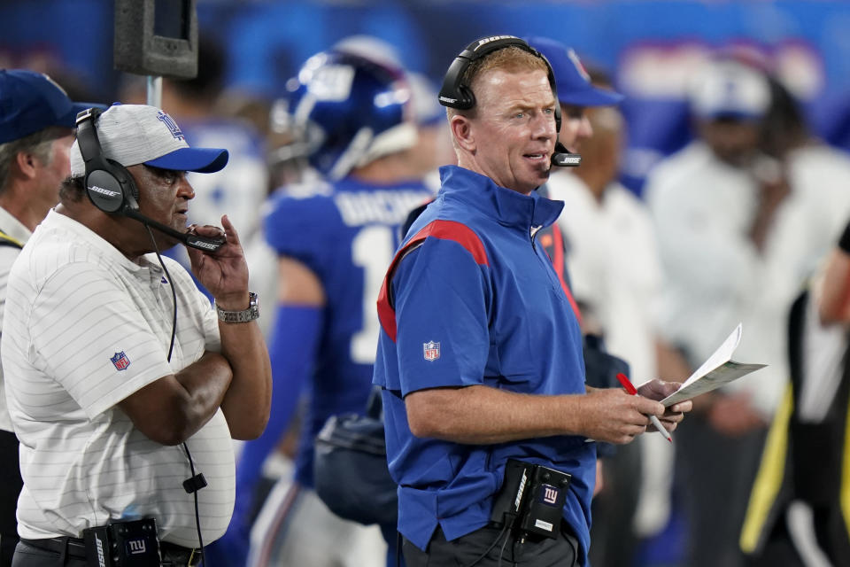 FILE- In this Aug. 14, 2021, file photo, New York Giants offensive coordinator Jason Garrett works the sidelines in the first half of an NFL preseason football game against the New York Jets in East Rutherford, N.J. A backup quarterback and holder for the Giants in 2001, Garrett spoke Thursday, Sept. 9, 2021, about the Sept. 11 attacks and the tragedy that claimed almost 3,000 lives that day. (AP Photo/Corey Sipkin, File)