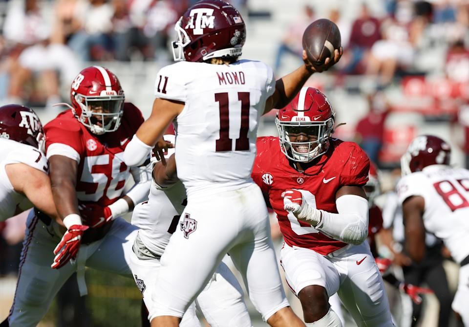 Texas A&M QB Kellen Mond has been up and down again this season. (Photo by UA Athletics/Collegiate Images/Getty Images)