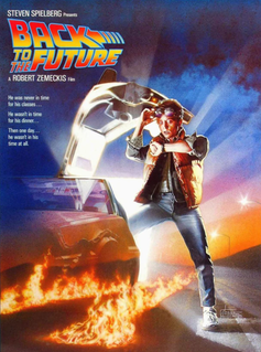 A poster of the original Back To The Future film showing the star Michael J Fox.