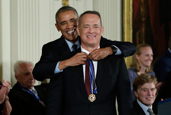 <p>President Obama presents the Presidential Medal of Freedom to actor Tom Hanks during a ceremony in the White House East Room, Nov. 22, 2016. (Yuri Gripas/Reuters) </p>