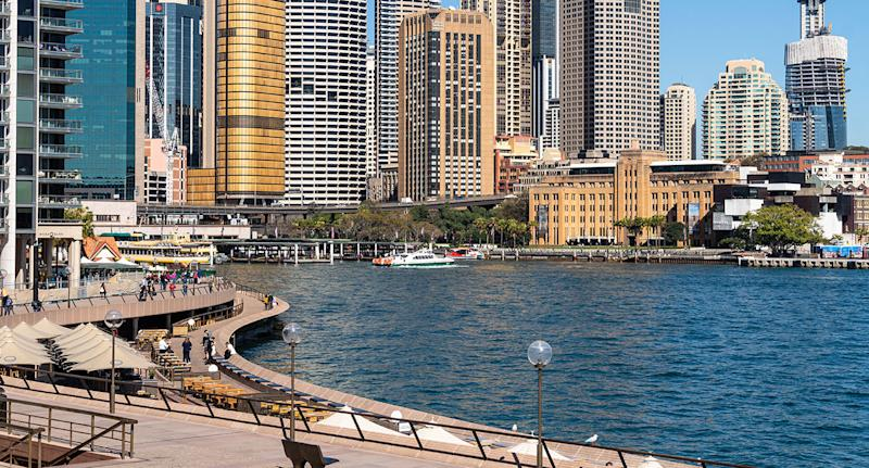 Waterfront promenade along the Circular Quay in Sydney downtown district on a sunny day in Australia