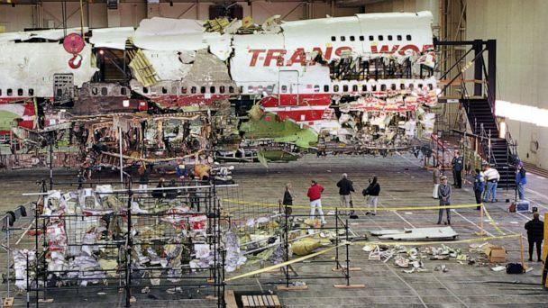 PHOTO: Wreckage of the front portion of the TWA flight 800 Boeing 747 aircraft is displayed in its reconstructed state, Nov. 19, 1997 in Calverton, Long Island, N.Y. (Jon Levy/AFP via Getty Images, FILE)