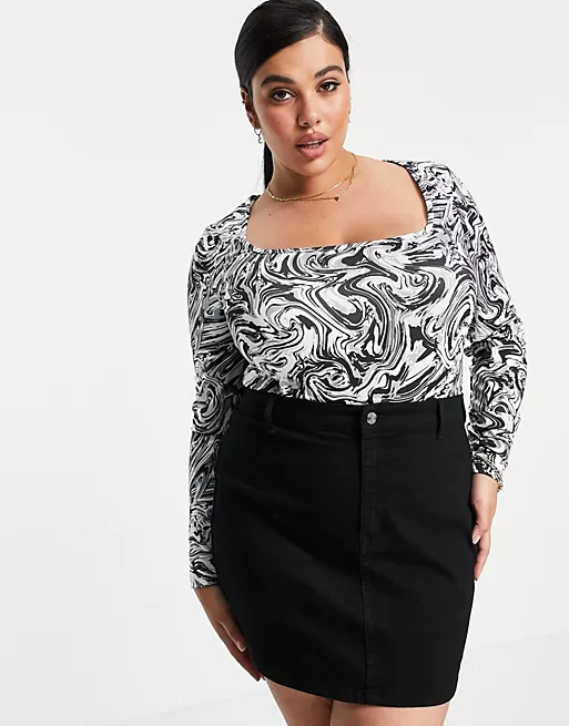 """<h2>Marble Print</h2>""""Graphic prints are splashed all over ASOS this summer, especially marble print.""""<br><br>- Vanessa Spence, Commercial Design & Visual Director at ASOS<br><br><strong>ASOS DESIGN</strong> Marble Print Square Neck Bodysuit In Black, $, available at <a href=""""https://go.skimresources.com/?id=30283X879131&url=https%3A%2F%2Fwww.asos.com%2Fus%2Fasos-curve%2Fasos-design-curve-exclusive-marble-print-square-neck-bodysuit-in-black%2Fprd%2F23860616%3Fcolourwayid%3D60518477"""" rel=""""nofollow noopener"""" target=""""_blank"""" data-ylk=""""slk:ASOS"""" class=""""link rapid-noclick-resp"""">ASOS</a>"""