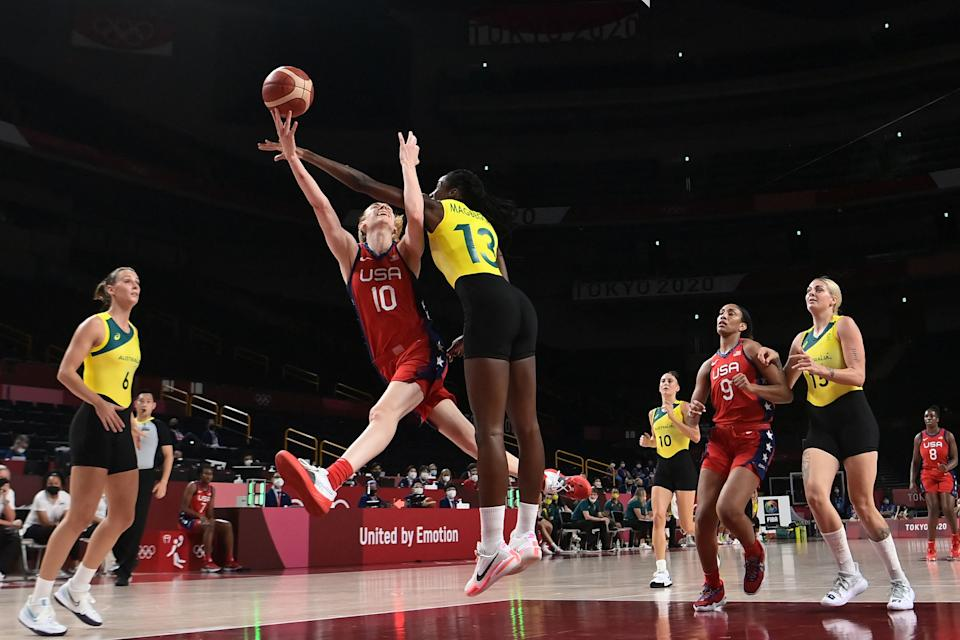 Breanna Stewart (10) and the American women are the one dynastic Team USA that hasn't been delivered a reality check at these Olympics. (ARIS MESSINIS/AFP via Getty Images)