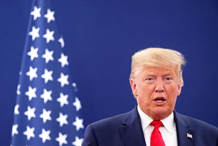 U.S. President Donald Trump speaks during a bilateral meeting with the President of the Swiss Confederation Simonetta Sommaruga at the 50th World Economic Forum (WEF) annual meeting in Davos, Switzerland, January 21, 2020. Via Reuters/Denis Balibouse