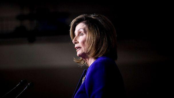 PHOTO: Speaker of the House Nancy Pelosi, Democrat of California, speaks during her weekly press briefing on Capitol Hill, Jan. 9, 2020, in Washington, DC. (Brendan Smialowski/AFP via Getty Images, FILE)