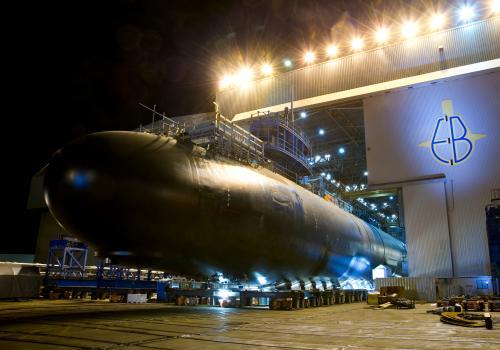A Virginia class submarine under construction at General Dynamics' Electric Boat yard.