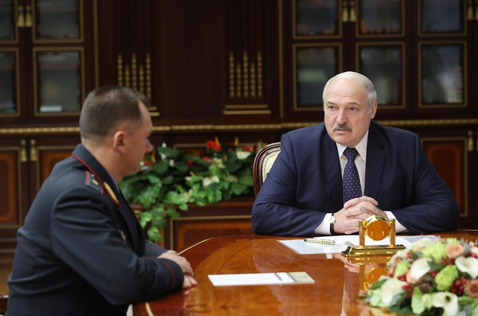 <p>Lukashenko meets with Interior Minister Kubrakov in Minsk</p> (via REUTERS)