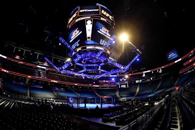 A general view of the Octagon prior to the UFC Fight Night event at Amway Center on February 24, 2018 in Orlando, Florida. (Getty Images)
